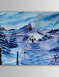 Christmas Painting Snowing Mountain Winter Holiday Gift Oil Painting on Canvas Ready to Hang