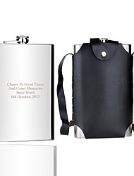 Gift Groomsman Personalized 64-oz Flask With Leather Sheath