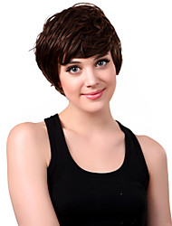 Capless Short Synthetic Brown Curly Hair Wig Side Bang
