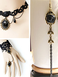 Handmade Obsidian Black Rose Braided Lace Classic Lolita Accessories Set