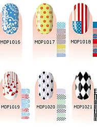 14PCS Scrawl Cartoon Nail Art Stickers environnement enceinte (couleurs assorties)