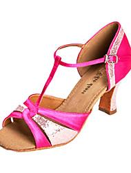 Customizable Women's Dance Shoes Latin/Ballroom Satin Customized Heel Fuchsia