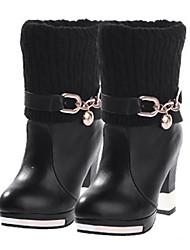 Babiniu Damen Schwarz Round Toe Baumwoll-Pullover Chunky Schuhe