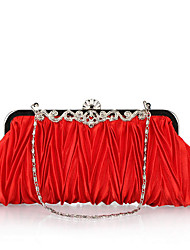 Women Bags All Seasons Polyester Evening Bag with Crystal/ Rhinestone for Wedding Event/Party Formal Office & Career Fuchsia Brown Red