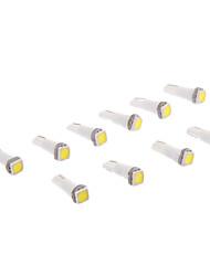 T5 1x5050SMD 10-20LM 6000K Cool White Light Bulb LED para carro (12V, 10pcs)
