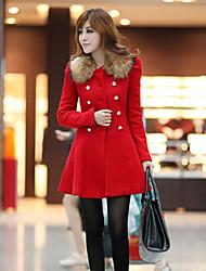Traumfrauen nehmen Pelzkragen Zweireiher Tweed-Mantel (rot)