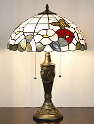 Floral Pattern Table Lamp, 2 Light, Tiffany Resin Glass Painting