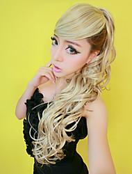 100% Kanekalon Gold Blonde Side-swept Bang & Curly Long Ponytail Wig Extension