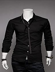 REVERIE UOMO Herren Schwarz Pure Color Long Sleeve Mit Krawatte Hemd