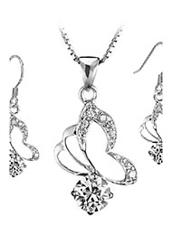 Butterfly Square Earrings & Necklace Jewelry Set