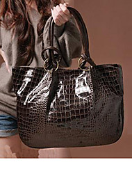 Lady Fashion Crocodile Veins PU Leather Tote(Coffee)