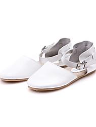 calcanhar plano de couro sapatos flats