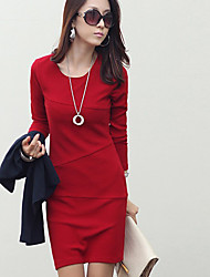 Lächeln Frau Frauen Red Fit OL Art Big Size Langarm Kleid