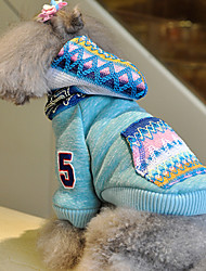 Dog Coat / Hoodie Blue / Pink Dog Clothes Winter Letter & Number