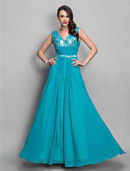 Formal Evening/Military Ball Dress - Jade Plus Sizes Sheath/Column V-neck Floor-length Chiffon