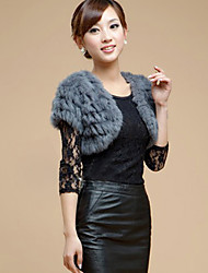 Fur Vest With Short Sleeve Collarless Rabbit Fur Casual/Party Wrap(More Colors)