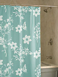 "Shower Curtain Light Green Flower Print Thick Fabric Water-resistant W78"" x L71"""