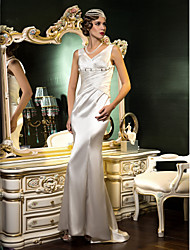 Lan Ting Trumpet/Mermaid Wedding Dress - Ivory Sweep/Brush Train V-neck Stretch Satin