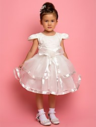 A-Line Ankle Length Flower Girl Dress - Chiffon Lace Satin Tulle Short Sleeves Jewel Neck with Beading