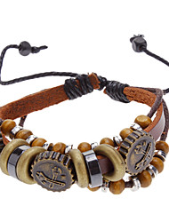 Unisex Bead Fabric Leather Bracelet