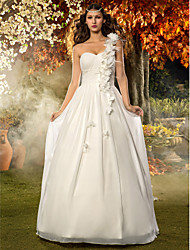 A-line Princess One Shoulder Floor Length Chiffon Wedding Dress with Flower Ruche Draped by LAN TING BRIDE®