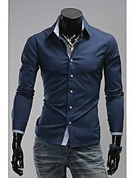 Foncé Chemise à carreaux à manches longues bleue mince OHFZ hommes