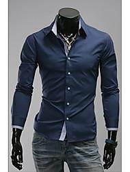 OHFZ Men's Dark Blue Thin Check Long Sleeve Shirt