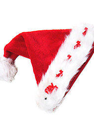 Deer Pattern Red Velvet Christmas Hat