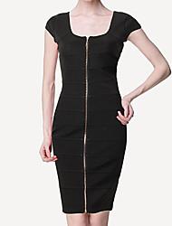 S & Z Moda Zipper Vestido Frente das Mulheres