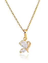 Or Placage Zircon 455mm Collier D0517 de KU NIU femmes