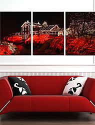 Stretched Canvas Print Art House in Christmas Eve Set of 3