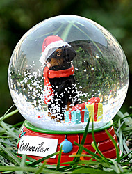 Lovely Rottweiler Decorative Crystal Ball Ornament Christmas Gift for Pet Lovers