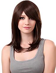 Sin tapa de hombros Castaña Calidad peluca sintética explosión lado
