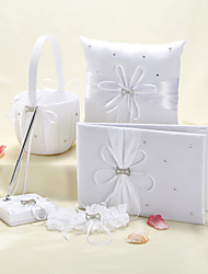 Starlight Wedding Collection Set In White Satin With Scattered Rhinestone (5 Pieces)
