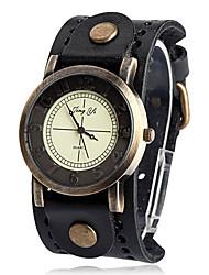 Women'S Round Pu Quartz Analog Wrist Watch