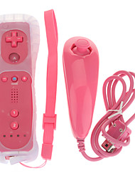 Remote with Motion Plus Silicone Sleeve Nunchuk Controller for Wii (Pink)