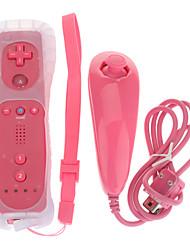 Télécommande avec Motion Plus Silicone Sleeve Nunchuk pour Wii (rose)