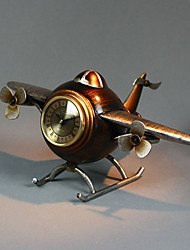 "14 ""Retro Art Aircraft Brown Tabletop Clock"