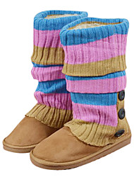 Damen Winter Strick-Knopf Mid-Calf Boots