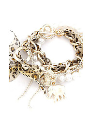 Lovely Alloy Pearls with Coin Elephant Charm Bracelet