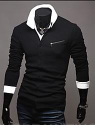 KICAI Hombres Zipper Personal Delgado Géneros de punto (Negro)