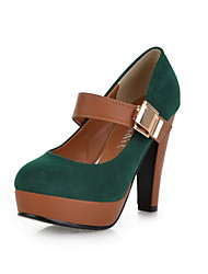 Suede/Faux Leather Chunky Heel Pumps Heels Shoes(More Colors)