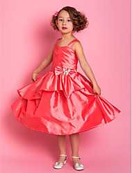 A-line Knee-length Flower Girl Dress - Taffeta Straps with Bow(s) Crystal Brooch Ruffles Side Draping