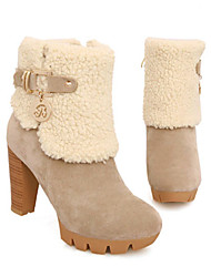Frosted Fur Boots Side (Almond)