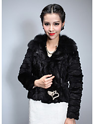 Turndown Collar Long Sleeve Rabbit Fur Party Jacket (More Colors)