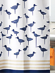 "Shower Curtain Dark Blue Birds Thick Fabric Water-resistant W71"" x L78"""