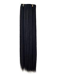 Kanekalon 7-couche de 55 centimètres Clip-in Directement Hair Extensions (Black)