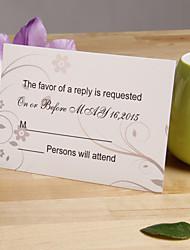 Champagne Flower Pattern Response Card - Set of 12