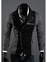 DJJM Men's Fashion Irregular Zipper Design Spell Color Cloth Suits Of Rome(Gray)