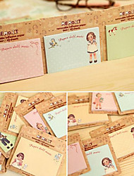 Europe and the United States Little Doll Pattern Self-Stick Note(Random Color)